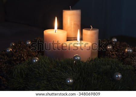 Advent wreath with two burning candles - stock photo