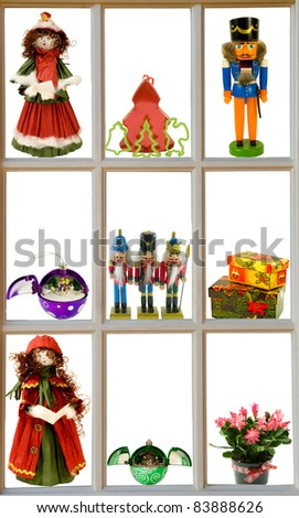 advents- display of christmas items in a window frame - stock photo
