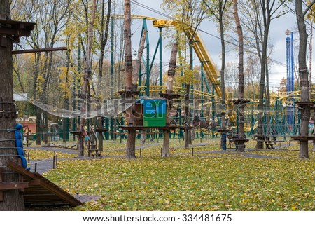 Adventure climbing high wire park, rope extreme park
