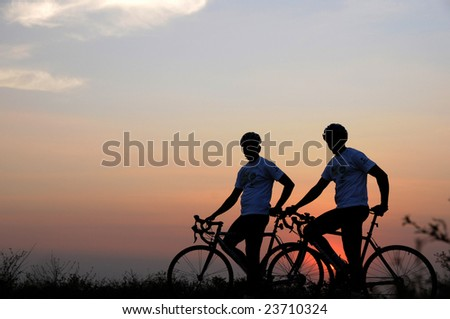 adventure cycling in the nature, india - stock photo