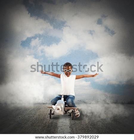 Adventure little girl - stock photo