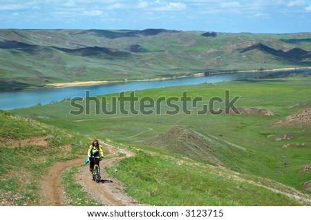 Adventure mountain biking - stock photo
