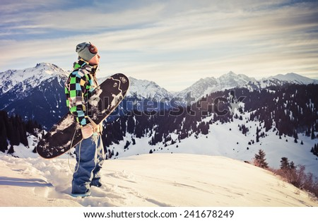 adventure to snowboard in swiss mountain - stock photo