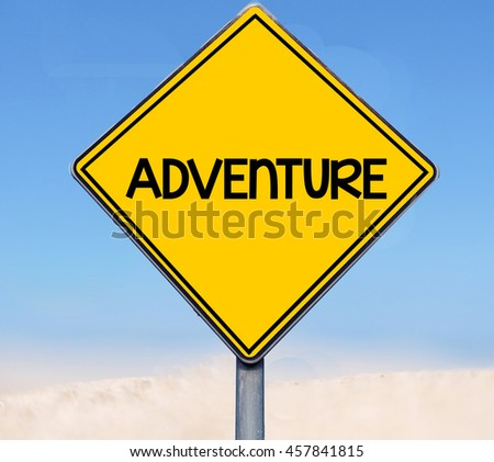 Adventure word on road sign on sky background