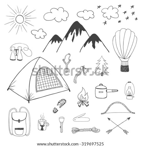 Adventures hand drawn doodle set in vintage style - stock photo