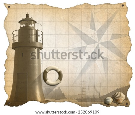 Adventurous Journeys Parchment. Brown parchment with a lighthouse, lifebuoy, seashells, compass rose and a sailing ship. Concept of adventurous Journeys - stock photo