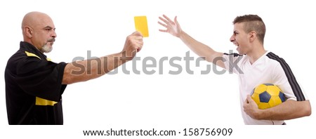 Adverting: yellow card to soccer player. Isolated guys on white. - stock photo