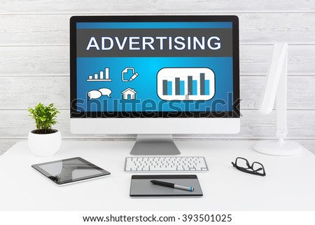 Advertise Advertising Advertisement Branding Commercial - Stock Image - stock photo