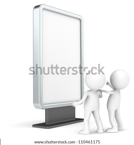 Advertise Here. 3D little human characters X 2 Looking at a Blank Billboard. Copy Space. People series. - stock photo