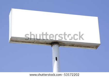 advertisement banner empty blank on blue sky background - stock photo