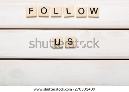 Advertisement. Follow Us and a Copy Space to Put Your Profile card isolated on white background - stock photo