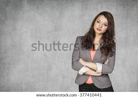 advertisement from business woman - stock photo