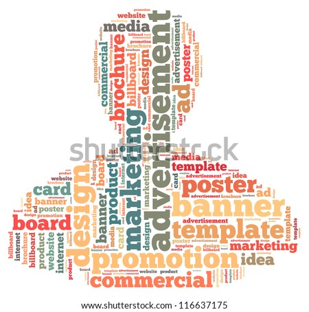 Advertisement info-text graphics and arrangement concept on white background (word cloud)