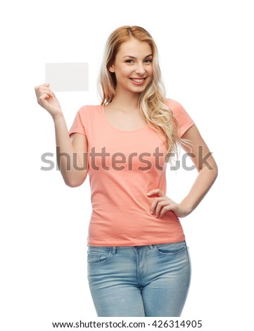 advertisement, invitation, message and people concept - smiling young woman or teenage girl with blank white paper card