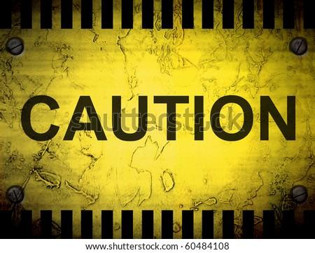 Advertisement on vintage yellow background. Caution illustration - stock photo