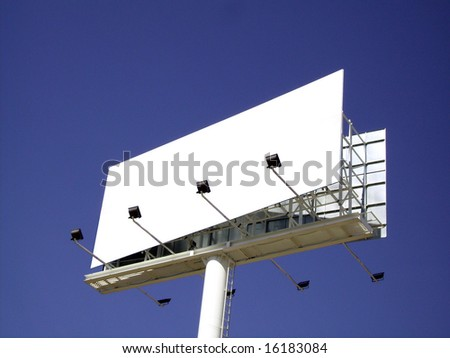 Advertisement panel isolated over the sky