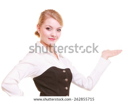 Advertisement. Young businesswoman showing blank copy space on empty hand isolated on white. Elegant woman holding your product. - stock photo