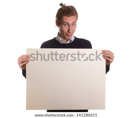 Advertiser.Smiling adult man hold paper with text for copy - stock photo