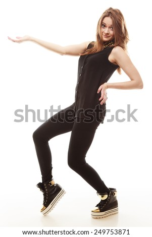 Advertising and young people concept - Full length stylish young woman teenage girl showing open hand palm with copy space for product text - stock photo