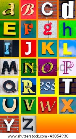 Advertising banner letter cutouts. Make your own words easily with this fix width alphabet - stock photo