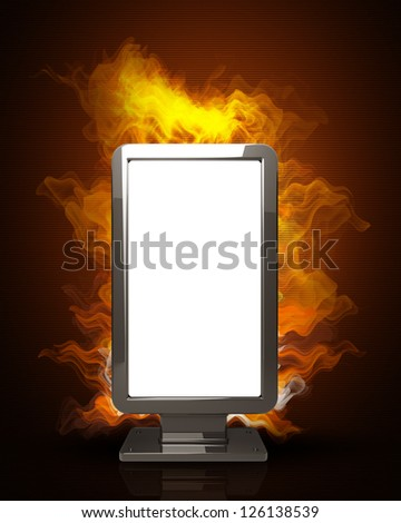 advertising billboard in Fire Black Background. High resolution. 3D image - stock photo