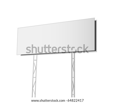 Advertising billboard isolated on white background - stock photo