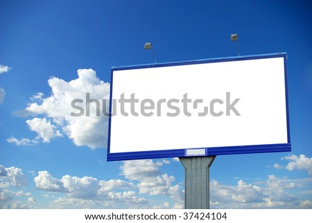 advertising billboard on sky background