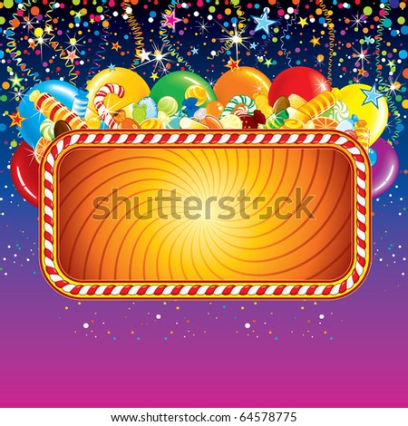 Advertising billboard with balloons, confetti and over birthday decoration. - stock photo