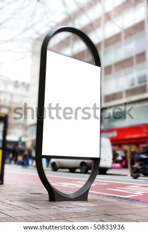 advertising blank poster site or billboard or adshel in london - stock photo