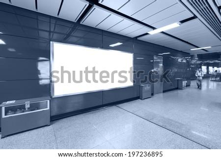 advertising board at metro station - stock photo