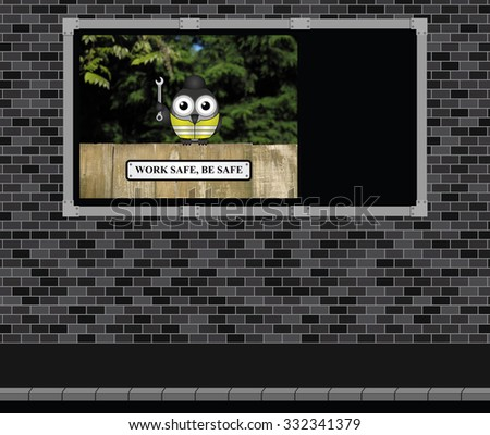 Advertising board on brick wall with construction and engineering work safe be safe message with copy space on advertising board for own text - stock photo