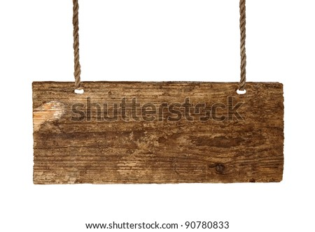 Advertising board on thread  isolated on the white background - stock photo