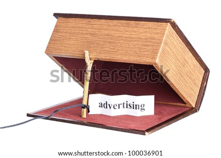 advertising. box is installed in the form of the trap. - stock photo