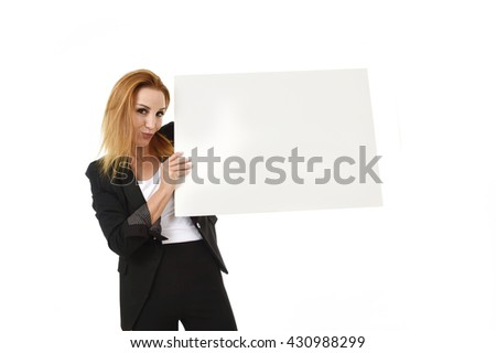advertising business portrait of attractive blond businesswoman holding blank billboard with copy space smiling happy and confident isolated on white background - stock photo