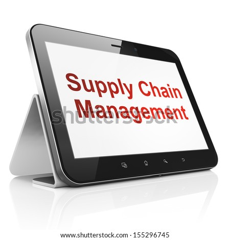 Advertising concept: black tablet pc computer with text Supply Chain Management on display. Modern portable touch pad on White background, 3d render - stock photo