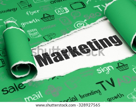 Advertising concept: black text Marketing under the curled piece of Green torn paper with  Hand Drawn Marketing Icons - stock photo