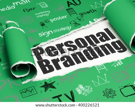 Advertising concept: black text Personal Branding under the curled piece of Green torn paper with  Hand Drawn Marketing Icons, 3D rendering