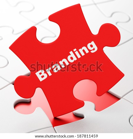 Advertising concept: Branding on Red puzzle pieces background, 3d render - stock photo