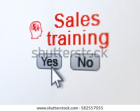 Advertising concept: buttons yes and no with pixelated Head With Finance Symbol icon, word Sales Training and Arrow cursor on digital computer screen, selected focus 3d render - stock photo