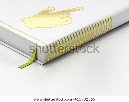 Advertising concept: closed book with Gold Mouse Cursor icon on floor, white background, 3D rendering - stock photo