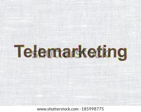 Advertising concept: CMYK Telemarketing on linen fabric texture background, 3d render
