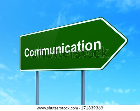 Advertising concept: Communication on green road (highway) sign, clear blue sky background, 3d render - stock photo