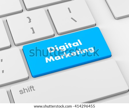 Advertising concept: computer keyboard with word Digital Marketing, 3d rendering - stock photo
