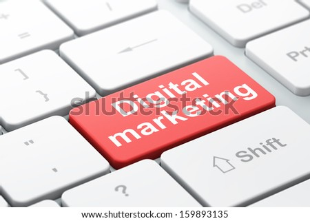 Advertising concept: computer keyboard with word Digital Marketing, selected focus on enter button background, 3d render - stock photo