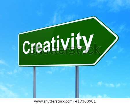 Advertising concept: Creativity on green road highway sign, clear blue sky background, 3D rendering