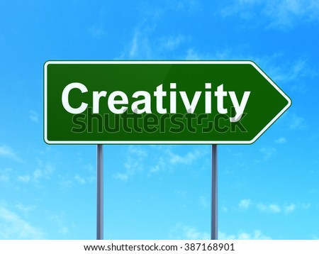 Advertising concept: Creativity on road sign background - stock photo