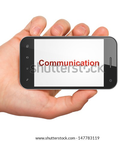 Advertising concept: hand holding smartphone with word Communication on display. Generic mobile smart phone in hand on White background.