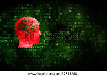 Advertising concept: Head With Finance Symbol on digital background - stock photo