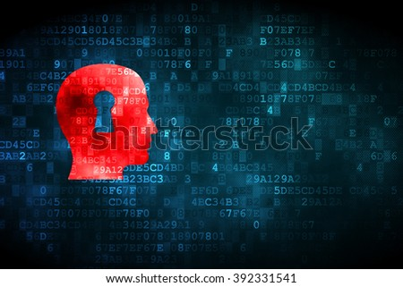 Advertising concept: Head With Keyhole on digital background - stock photo