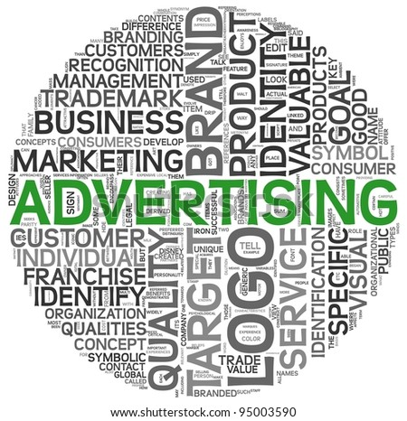 Advertising concept in word tag cloud on white background - stock photo